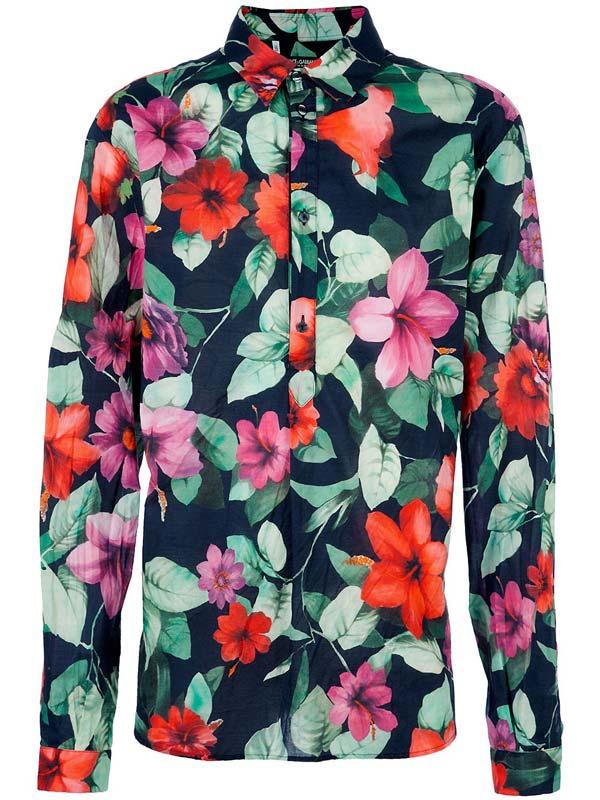 Dolce and Gabbana men floral shirt - roses pink and red