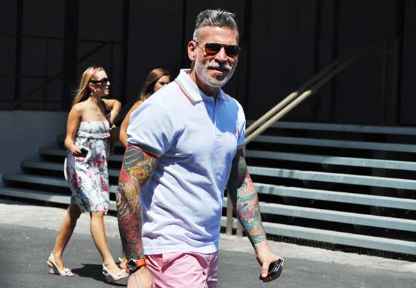 Nick Wooster, lots of tatoo