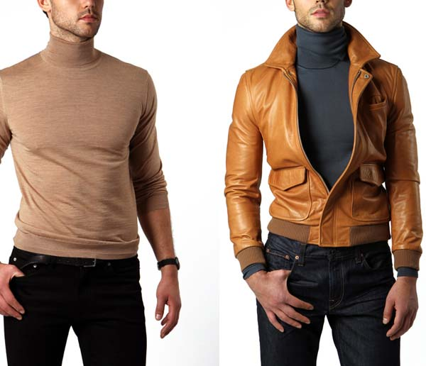 Turtleneck combined with Leather Jacket by Hugo Boss