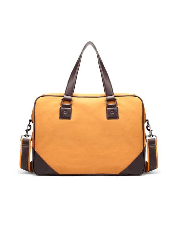 zara mustard combined briefcase