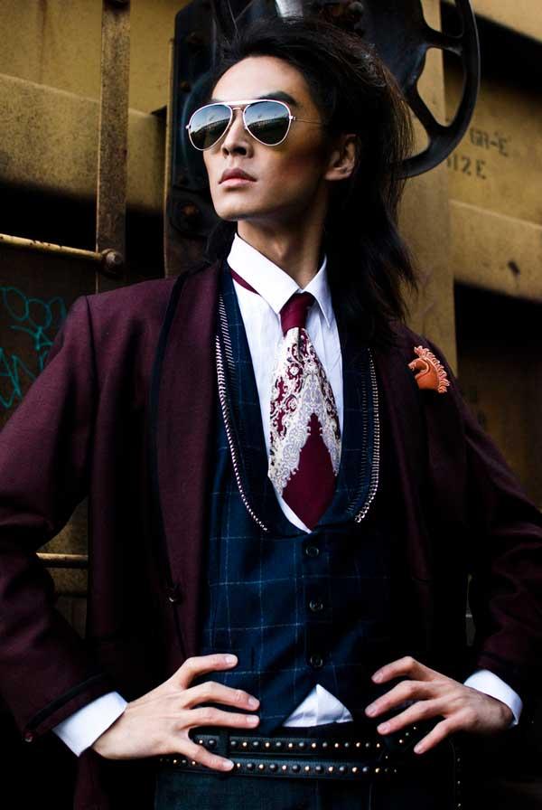 David Chiang male model burgundy tie
