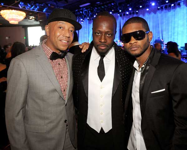 Russell Simmons Wyclef-Jean and Usher at Salute to Icons - Dinner suits