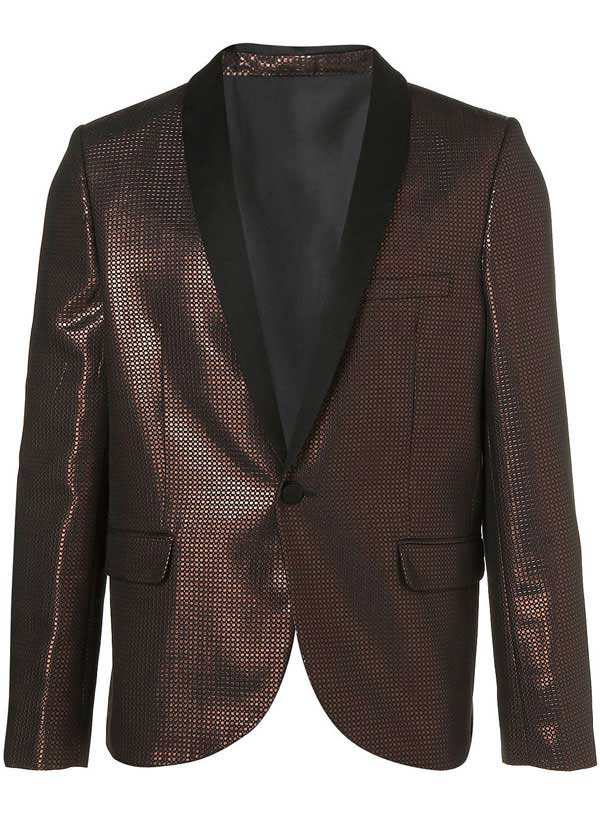 Burgundy and black metallic jacquard and tux-blazer by Topman