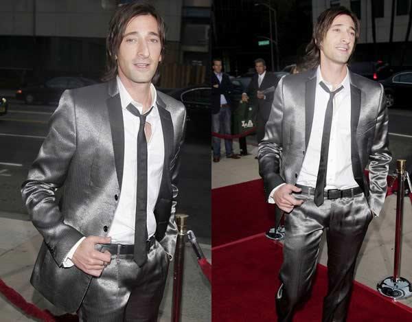 Adrien Brody - metallic dinner suit