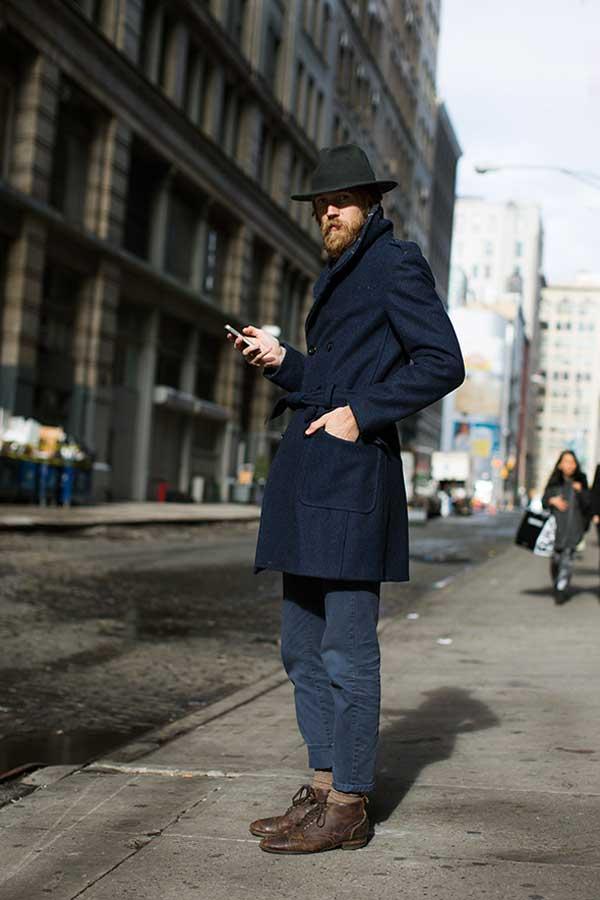 men's blue winter - vintage jacket long