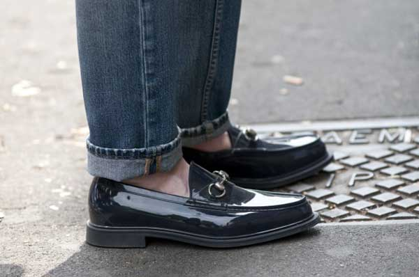shiny shoes - gucci men loafers style roll-ups cuffs