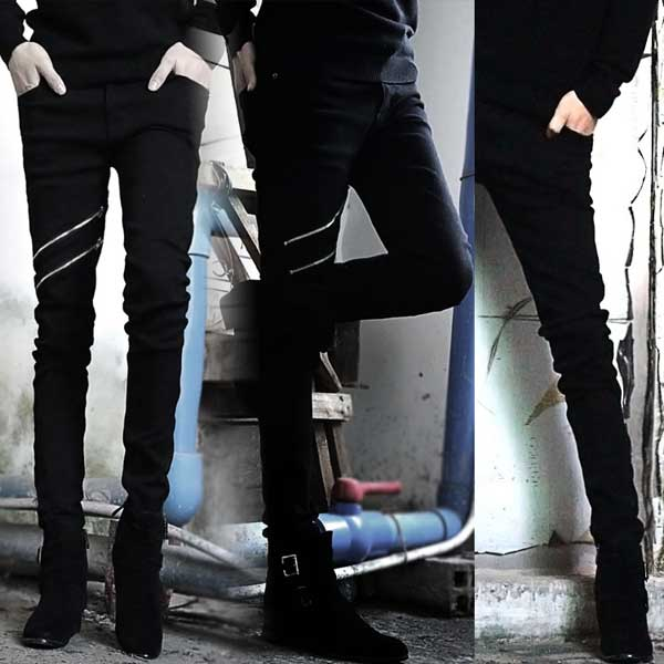 Oblique front zipper - Sweatpants