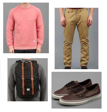 pink jumper,beige trousers