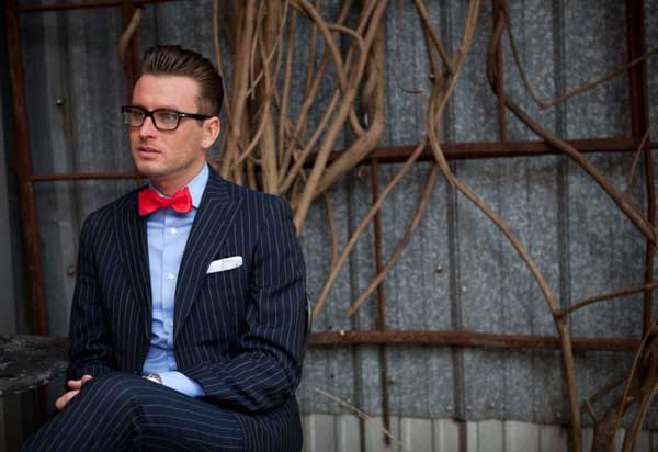 Pin Stripe Suits for men 2013 with red bow tie