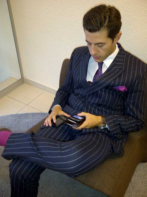 Pin striped suits for men blue