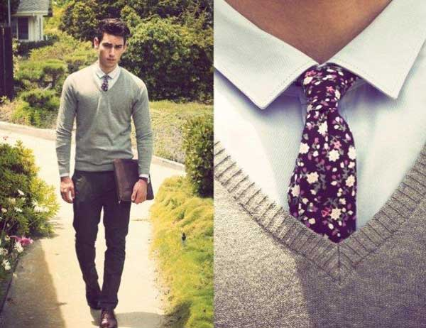 Grey top, floral ties and tight fitted trousers