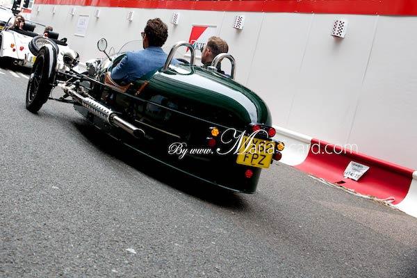 David Gandy - Driving 3 wheeler car - Morgan in London
