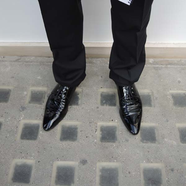 Dolce & Gabbana Menswear Store Opening in Bond street London - Zoom in on black pointy shoes