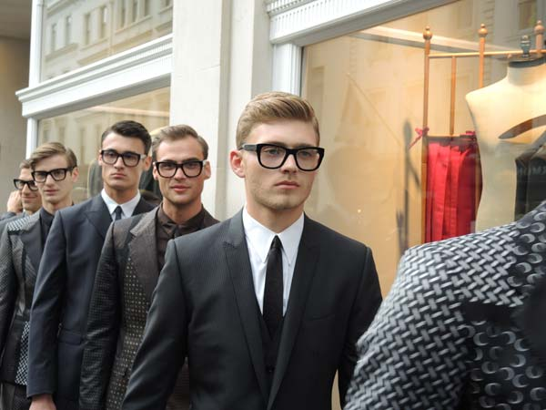 Dolce & Gabbana Menswear Store Opening in Bond street London - Models entering the store