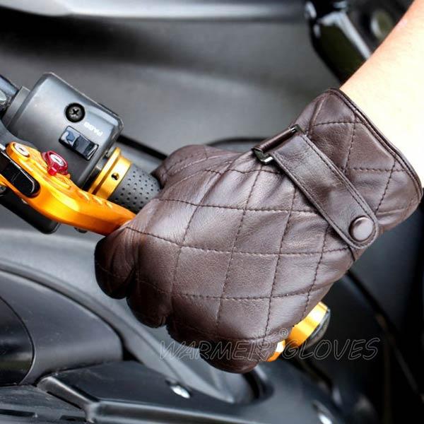 Mens GENUINE-LAMBSKIN-Leathe MOTORCYCLE-gloves brown