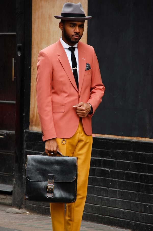 Apricot Blazer and fedora hat for men