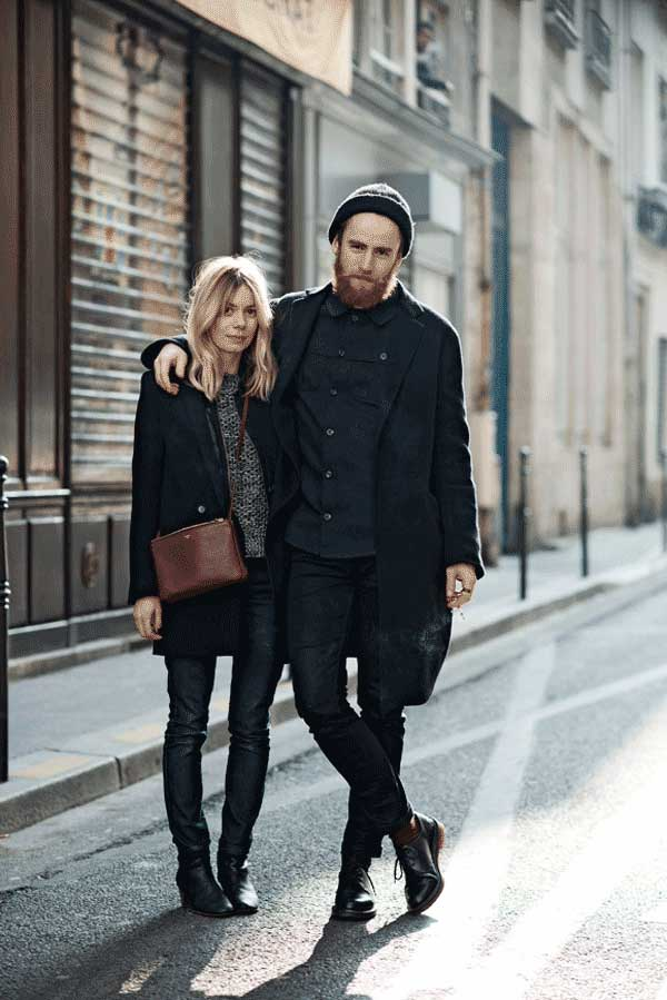 Black shirt, jeans and jackets for men
