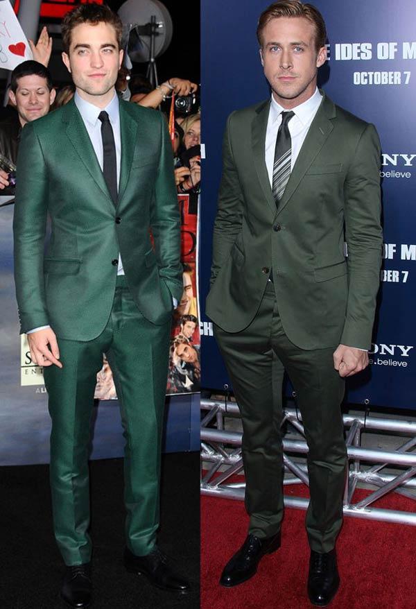 Robert Pattinson and Ryan Gosling wearing green suits
