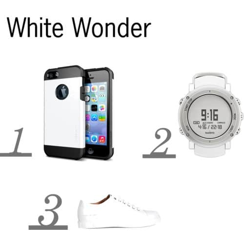 Spigen iPhone 55S Tough Armor in Smooth White,Suunto 'Core Alu' Multifunction Watch,Marc Jacobs White Sneakers
