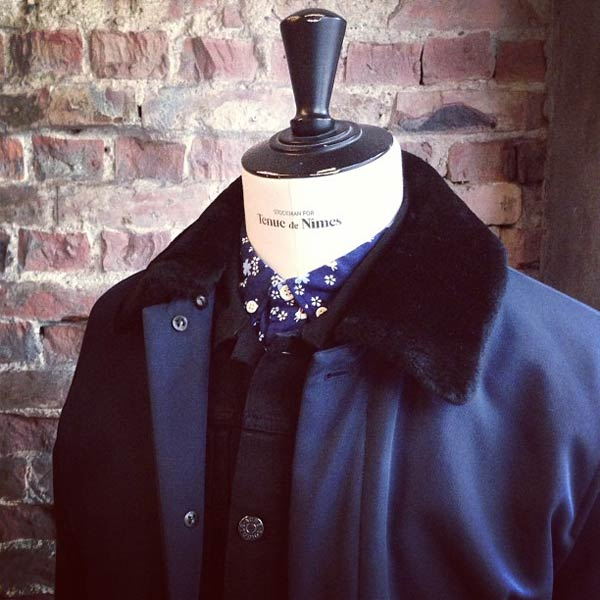 tenuedenimes shearling collar Bomber with an indigo rabbit-shirt amsterdam
