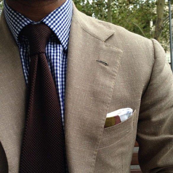 Blue-Gingham brown knit tie pocket square jacket blazer