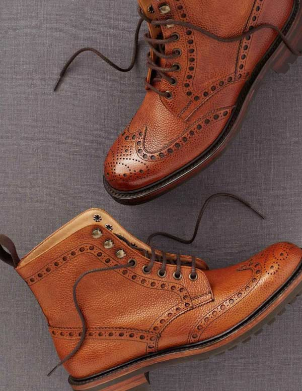 Brogue country brown boot for men