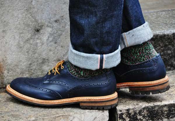 Brogue winter navy for men wool socks