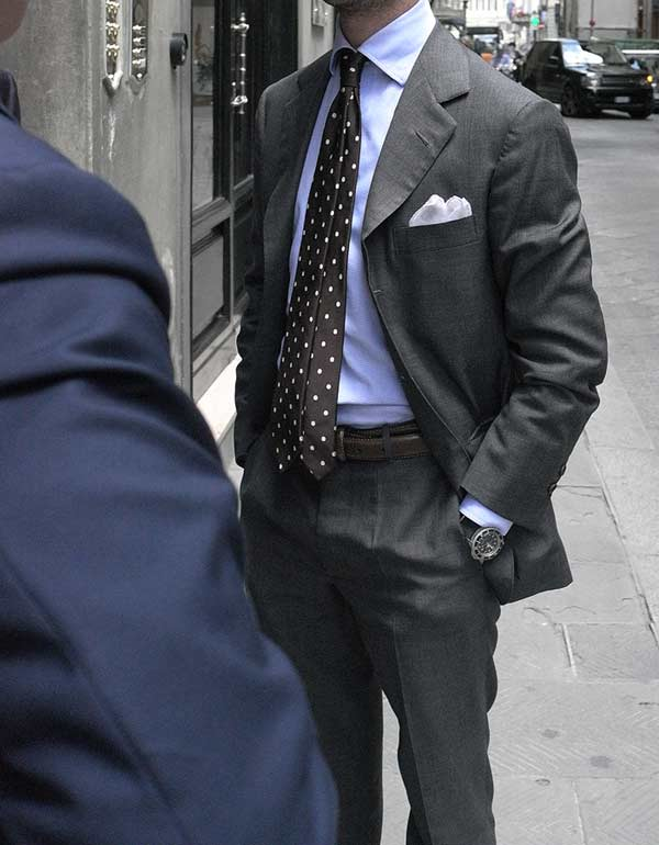 Classic blue shirt with polka dot tie