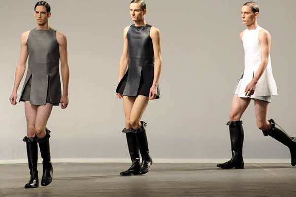 J.W.Anderson - London Collections Men - knee high boots and men wearing dresses