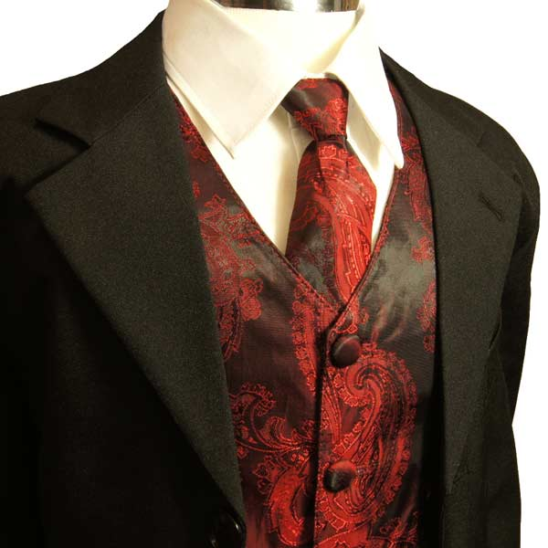 Waistcoats worn with a Tuxedo red prints and silk