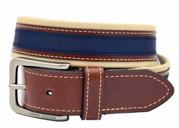 mens leather belts blue Tommy Hilfiger