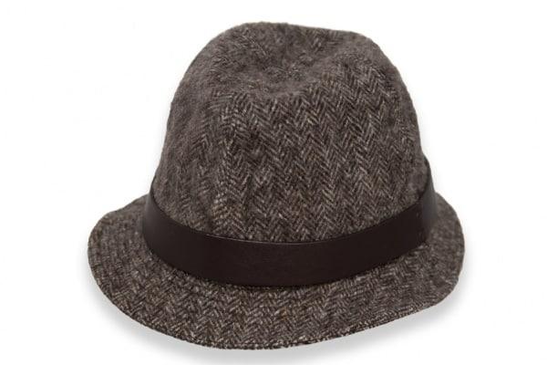 Trilby Hat Herringbone Brown