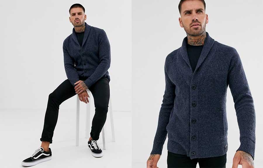 Hollister Cardigan for Men Navy Blue Heavy Knit