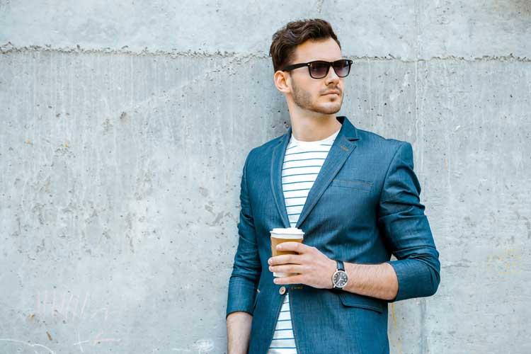 Italian Men Fashion Sense Sunglasses and cup of Coffee