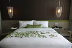 Not real leaves but a nice touch for the bed linnen