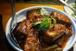 braised eggplant, red sambal