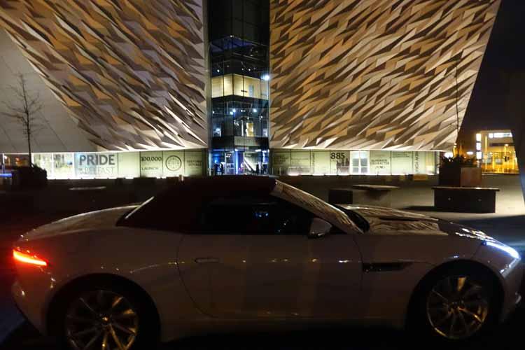 Jaguar F-type convertible Titanic Museum Belfast