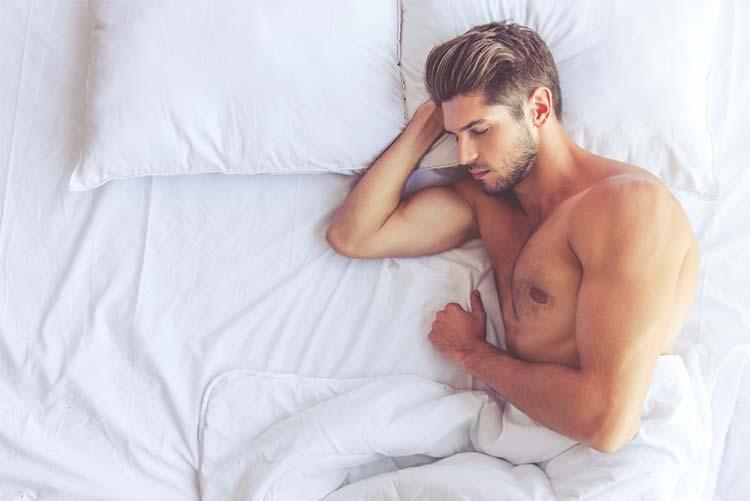 Man sleeping pillow and Duvet