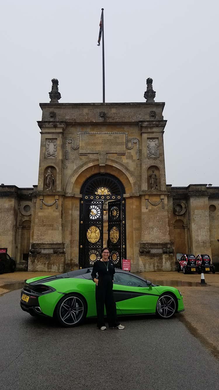 570s McLaren Mantis Green Gracie Opulanza Blenheim Palace woman