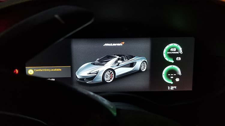 570s McLaren Mantis Green dashboard