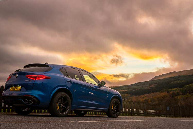 Stelvio Quadrifoglio Alfa Romeo SUV MenSyleFashion Scotland Sunset