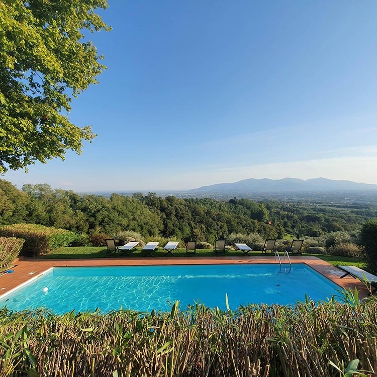 Fattoria mansi Bernardini Lucca Italy swimming pool view Lucca italy