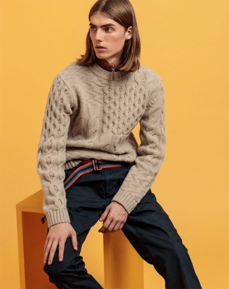 Patchwork Cable Crew Neck Jumper