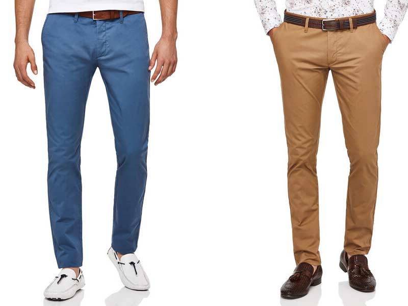 Neutral chino trousers for men