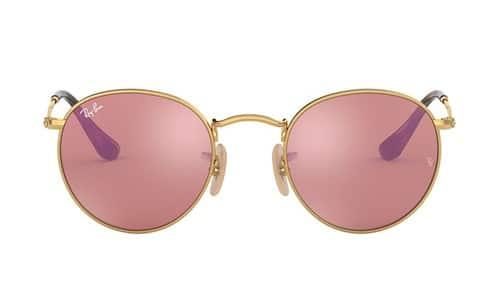 Gold Round Ray Ban Men Sunglasses