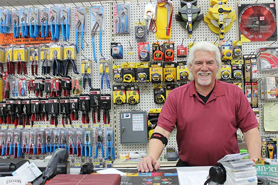 man in tool shop