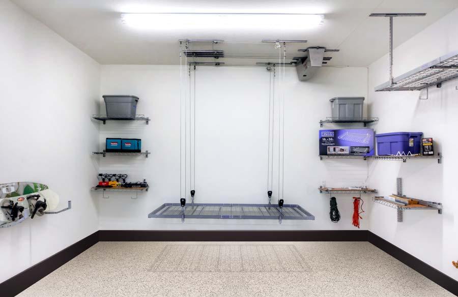 Drop down shelves garage