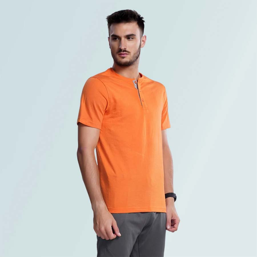 Henley Neck Tshirt For Men- Orange