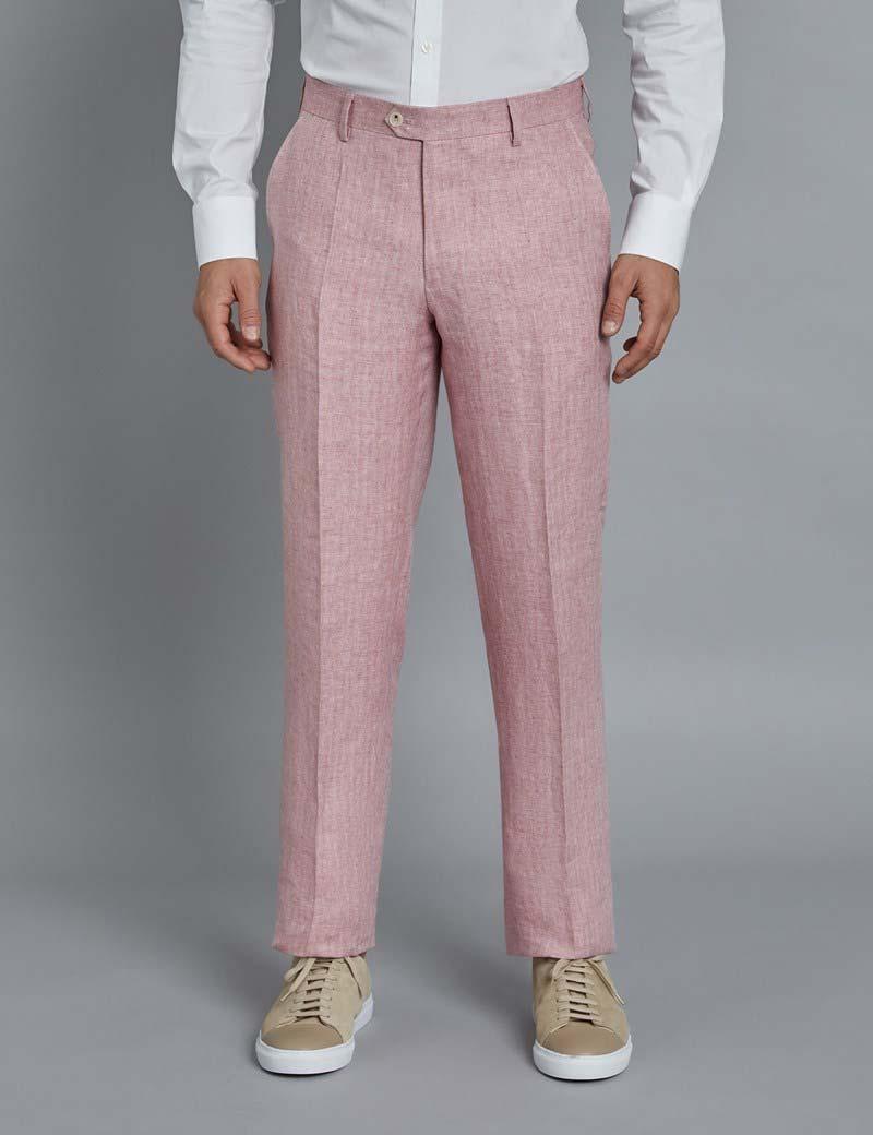 Men's Pink Herringbone Linen Tailored Fit Italian Suit Trousers