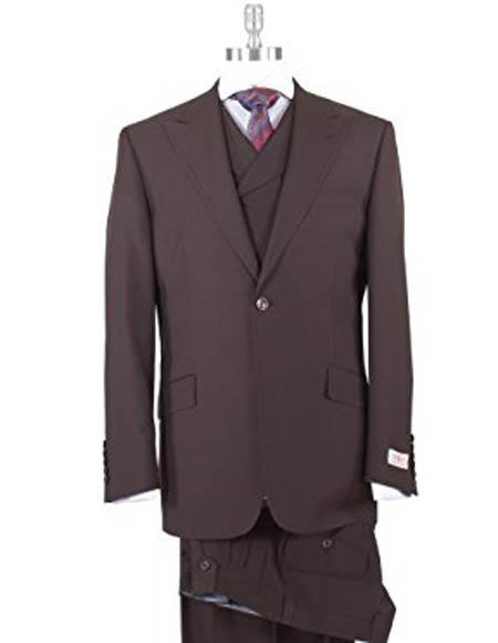 f4788723522b12 Men's 1 Button Peak Lapel Wide Leg Italian Wool Vested Brown Suit Tiglio  Rosso